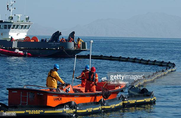 Egyptian authorities drag floats designed to collect debris and body parts as they continue the search for the wreckage of a charter airline crash...