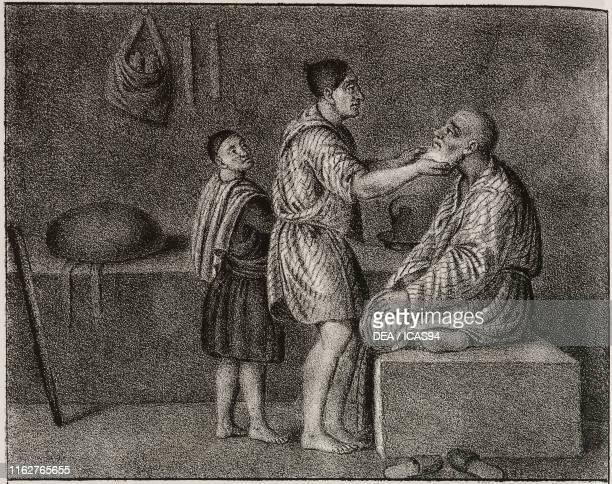 Egyptian barbershop Egypt Africa lithograph from Galleria universale di tutti i popoli del mondo ossia storia dei costumi religioni riti governi...
