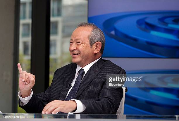 Egyptian billionaire Naguib Sawiris gestures during a Bloomberg Television interview in London UK on Thursday May 24 2012 Sawiris said he'd be...