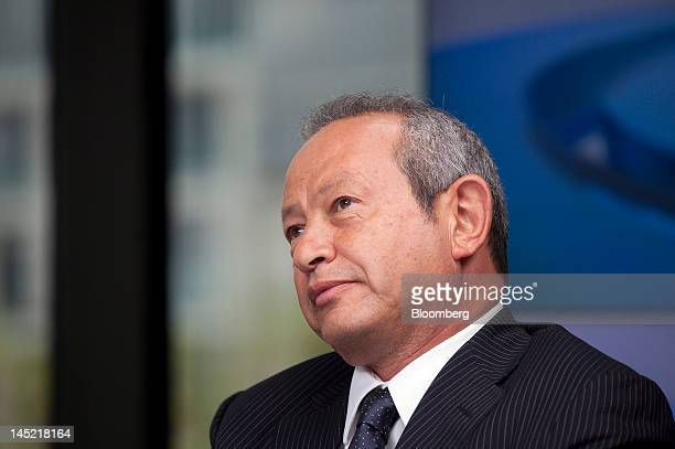 Egyptian billionaire Naguib Sawiris reacts during a Bloomberg Television interview in London UK on Thursday May 24 2012 Sawiris said he'd be willing...