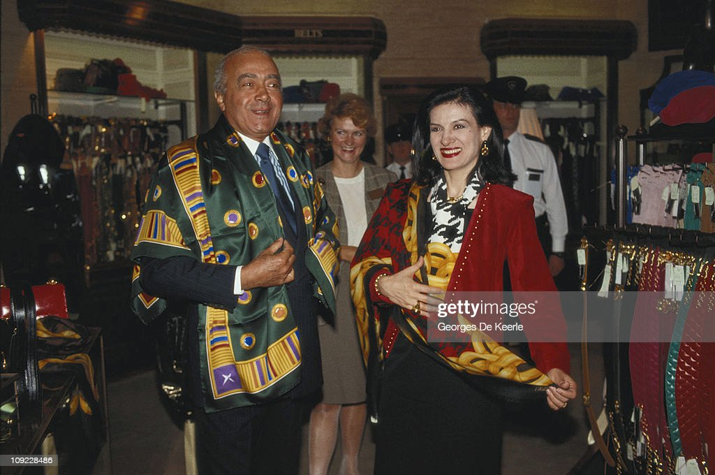 Egyptian businessman Mohamed Al-Fayed with fashion designer Paloma Picasso, circa 1988.