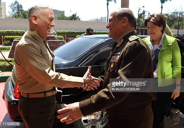 Egyptian Chief of Staff of the Armed Forces Sami Anan welcomes US Commander of the Central Command James Mattis upon his arrival for a meeting in...