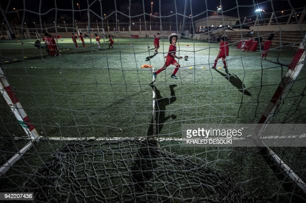 Egyptian children take part in a training session at the Liverpool International Academy in the modern city of Madinaty 40 kms east of the Capital...