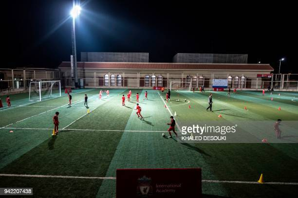 Egyptian children take part in a training session at the Liverpool International Academy in the modern new city of Madinaty 40 kms east of the...