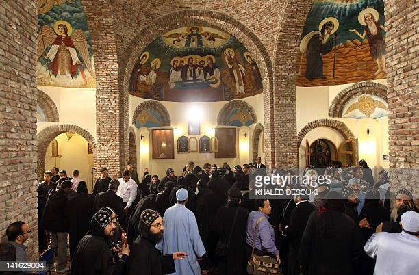 Egyptian Christian Copts gather at the final resting place of Coptic Pope Shenuda III the spiritual leader of the Middle East's largest Christian...