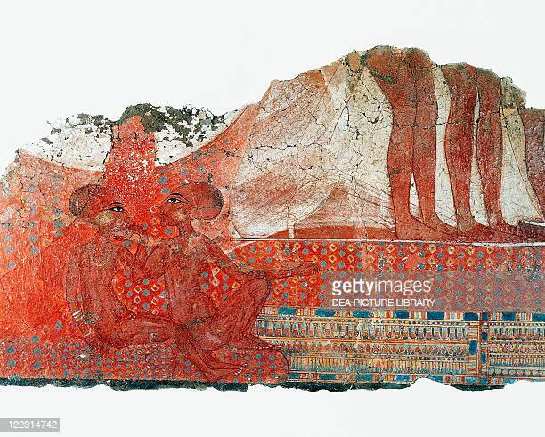 Egyptian civilization 14th century bC Fragment of Amarnan painting depicting princesses Neferneferuaten and Neferneferure daughters of Akhenaten and...