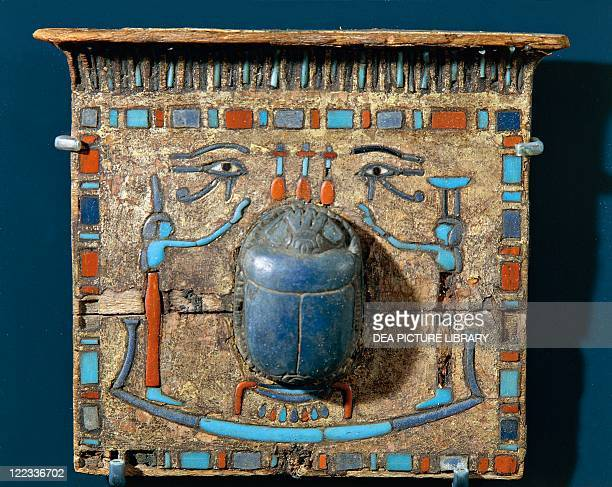 Egyptian civilization, 1st millennium b.C. Ornament of a mummy: pectoral with scarab made of lapis lazuli.