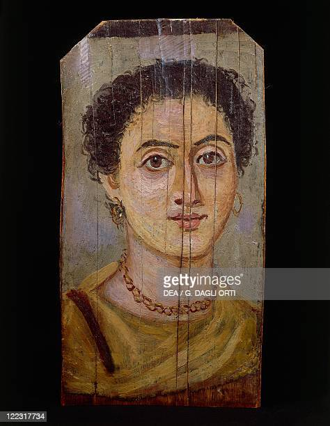Egyptian civilization 1st2nd century AD Portrait of a woman distemper painting on wood from AlFayyum Egypt