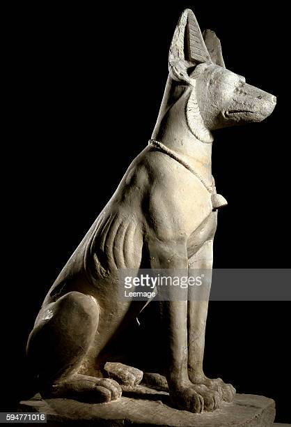 Anubis the jackal god associated with mummification and the afterlife in ancient Egyptian religion Stone sculpture grecoRoman era 1st century AD...