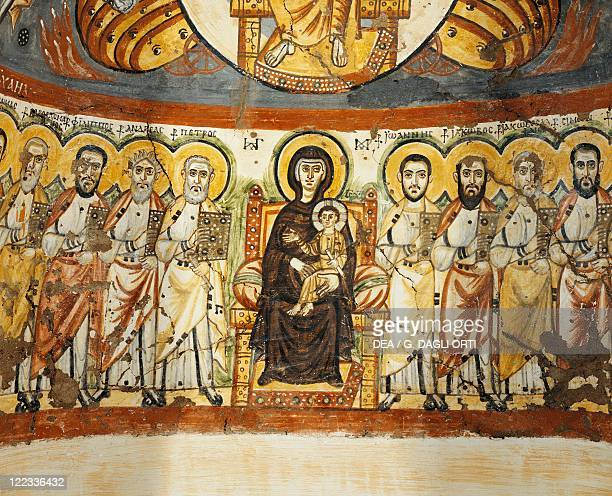 Egyptian civilization Coptic Period 6th century Painted niche from the monastery of Saint Apollo at Bawit Detail the Virgin surrounded by apostles