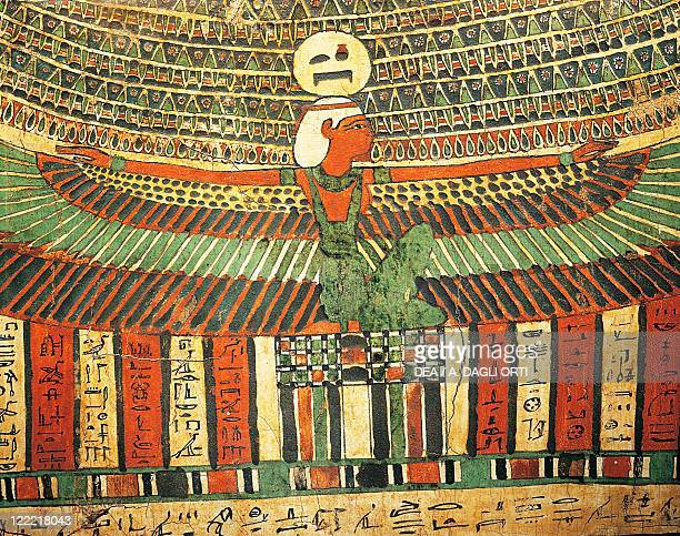 Egyptian civilization Dynasty XXVXXVI Sarcophagus of Tashakheper daughter of a priest of Amon and Montu at Thebes Detail with goddes Nut protecting...