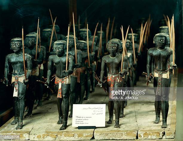 Egyptian civilization Middle Kingdom Dynasty XI Nubian archers Painted wooden statues from Assiut