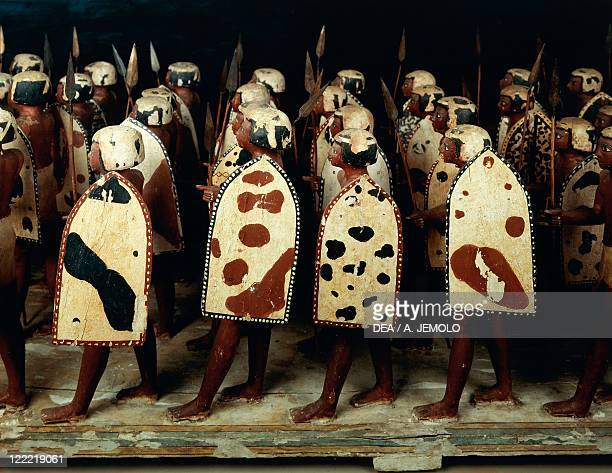 Egyptian civilization Middle Kingdom Dynasty XI Painted wooden statues of Egyptian soldiers From Assiut