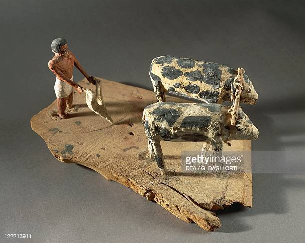 Egyptian civilization Middle Kingdom Painted wood models representing a scene of agricultural work Ploughing