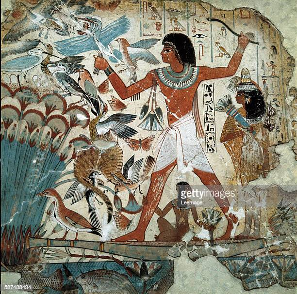 Nebamun hunting birds in the marshes with his wife and daughter Part of a wall painting from the tombchapel of Nebamun Thebes c1350 BC New Kingdom...