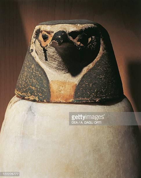 Egyptian civilization New Kingdom Canopic jar depicting falconheaded Qebehsenuef protector of the intestines