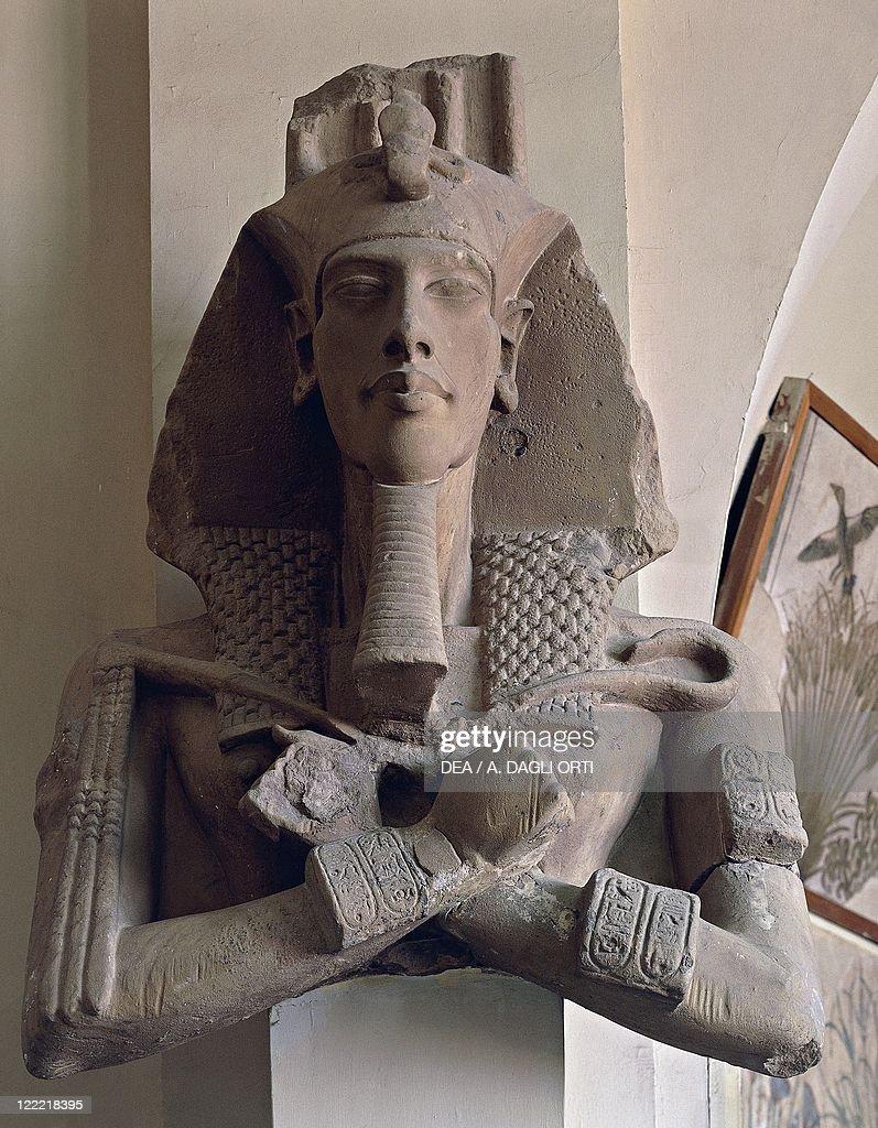 Colossal statue of Akhenaton (Amenhotep IV), New Kingdom, Dynasty XVIII : News Photo