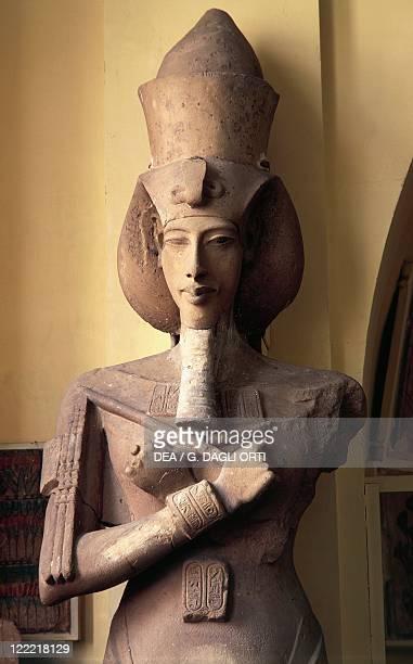 Egyptian civilization New Kingdom Dynasty XVIII Limestone pillar statue of Amenhotep IV from the Aton Temple at Karnak