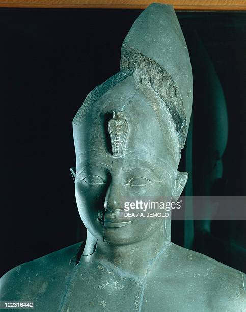 Egyptian civilization New Kingdom Dynasty XVIII Schist statue of Thutmose III From Karnak Detail head with Uraeus on forehead