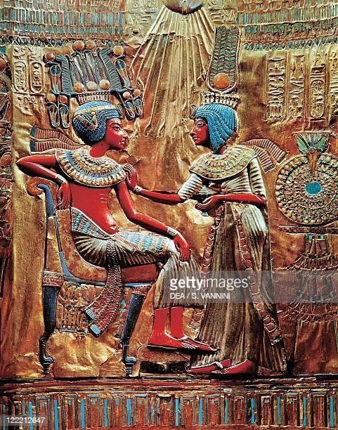 Egyptian civilization, New Kingdom, Dynasty XVIII. Treasure of Tutankhamen. Throne made of wood, gold leaf, silver, semiprecious stones and vitreous...