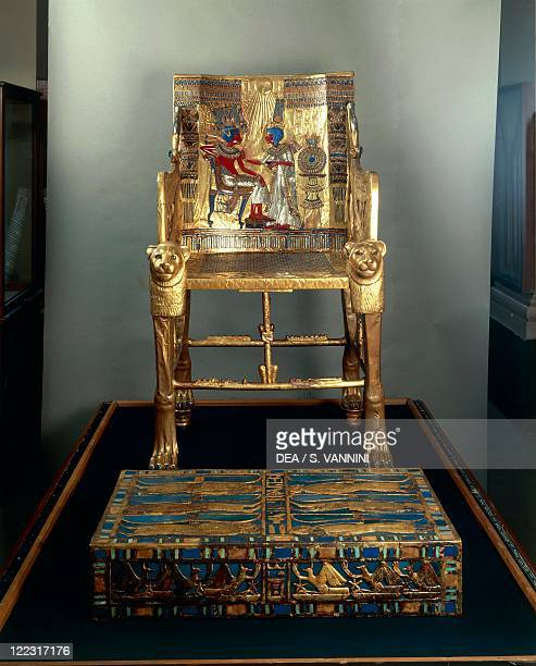 Egyptian civilization, New Kingdom, Dynasty XVIII. Treasure of Tutankhamen. Throne made of wood, gold leaf, silver, semiprecious stones and vitreous...