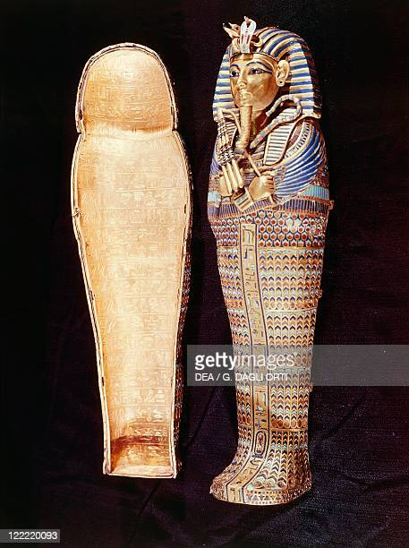 Egyptian civilization New Kingdom Dynasty XVIII Tutankhamen's treasure Second Sarcophagus of worught and engraved gold which contains the guts of the...
