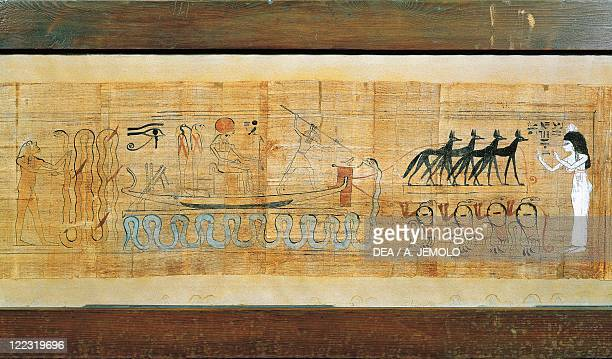 Egyptian civilization New Kingdom Dynasty XX Heruben papyrus divinity on solar boat of Seth