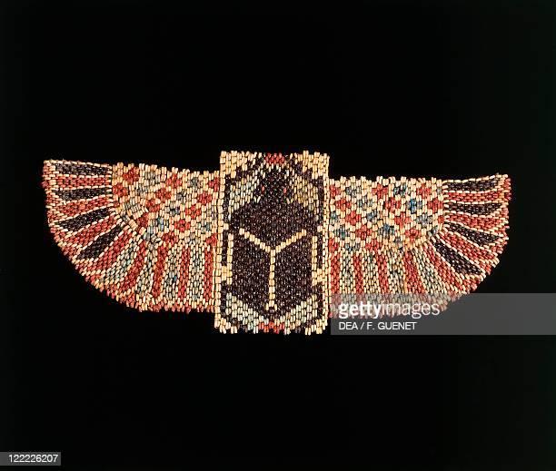 Egyptian civilization New Kingdom Dynasty XXVI Ceramic bead pectoral in form of a winged scarab