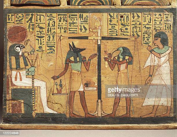 Egyptian civilization New Kingdom Painted wood shabti box depicting the weighing of the soul 1000 bC Detail