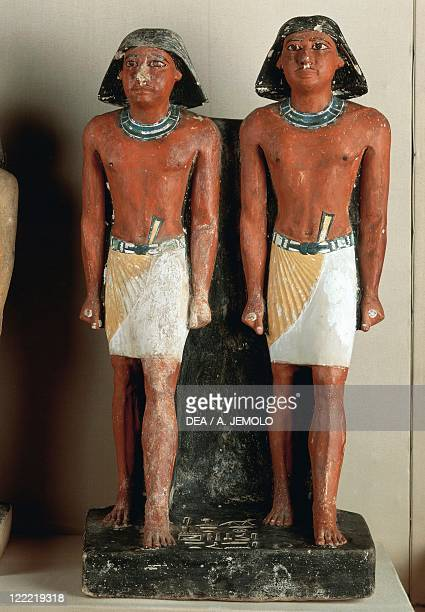 Egyptian civilization Old Kingdom Dynasty V Double statue of Nimeasted Painted limestone From Saqqara