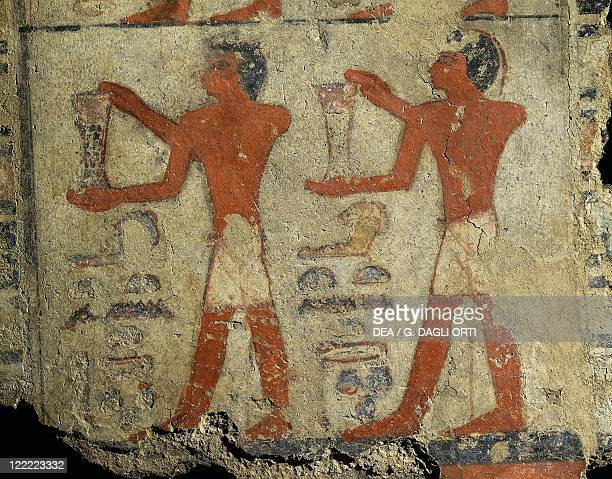 Egyptian civilization Old Kingdom Dynasty V Fragment of wall painting depicting transport of ointments from the tomb of Metchetchi at Saqqara
