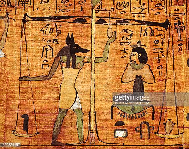 Egyptian civilization Papyrus from 'The Book of The Dead' Anubi during the weighing of the souls