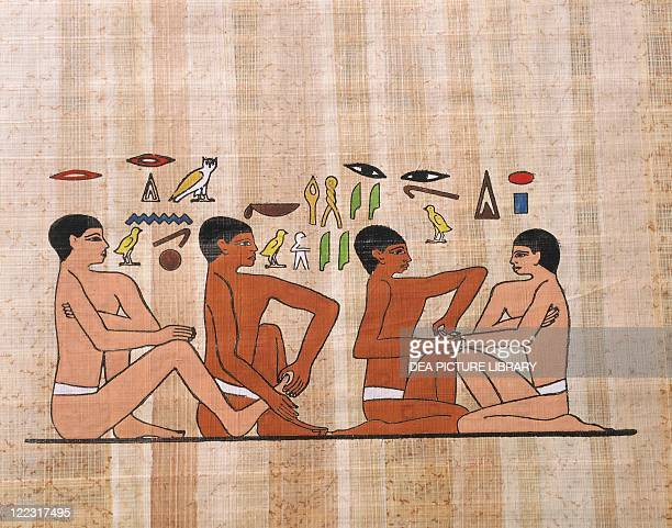 Egyptian civilization Papyrus Reflexology treatment Reconstruction of a relief from private funerary mastaba of AnkhmaHor at Saqqara Dynasty VI