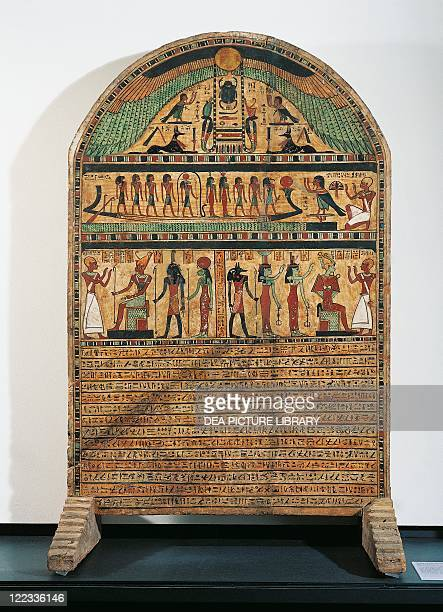 Egyptian civilization Ptolemaic Period 3rd century bC Painted wood stele of Usirur priest of Amon at Thebes Base funerary text