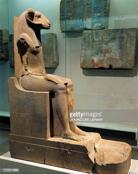 Egyptian civilization Quartzite statue of ramgod Khnum height 126 cm