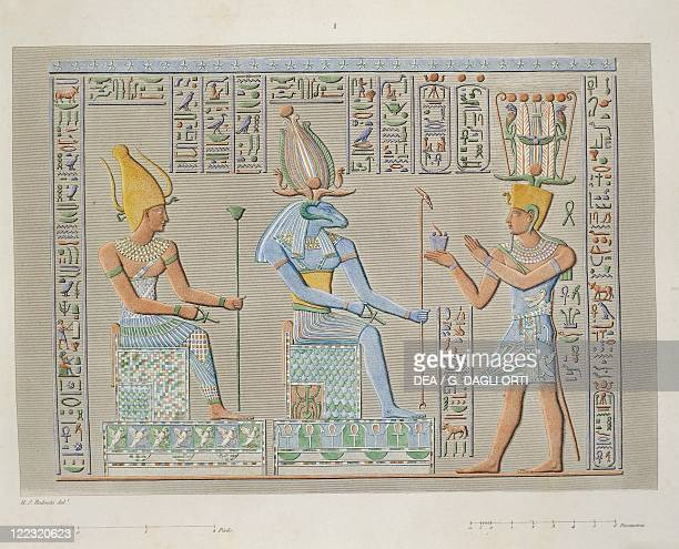 Egyptian civilization Reproduction of the reliefs of the Great Temple at Philae depicting the pharaoh before two deities Engraving from the...