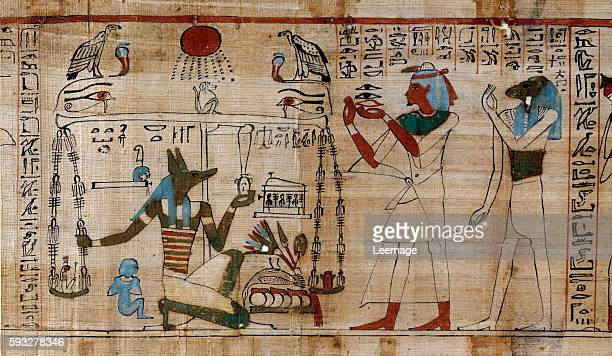 the weighing of the soul Detail of Book of Dead depicting Anubis weighing the heart of the deceased against the Feather of Truth papyrus preserved at...