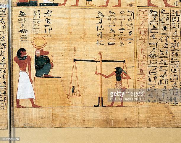 Egyptian civilization Third Intermediate Period Dynasty XXIXXII Mythological papyrus of Imenemsauf Chief bearer of Amon Detail the weighing of soul...
