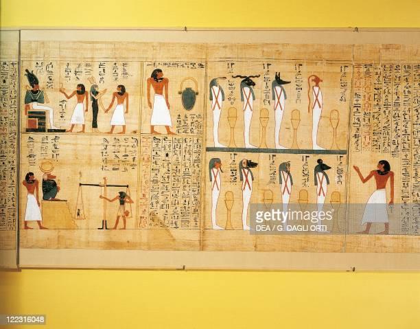 Egyptian civilization Third Intermediate Period Dynasty XXIXXII Mythological papyrus of Imenemsauf Chief bearer of Amon Detail the deceased before...