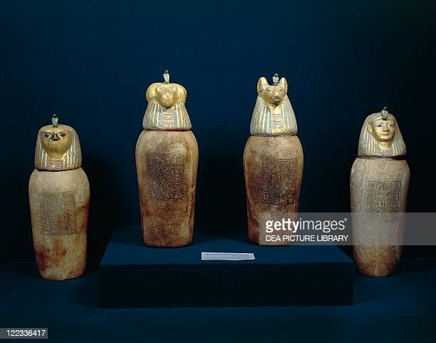 Egyptian civilization Third Intermediate Period Dynasty XXIXXII Treasure of Tanis The four canopic jars of Psusennes I made of painted alabaster