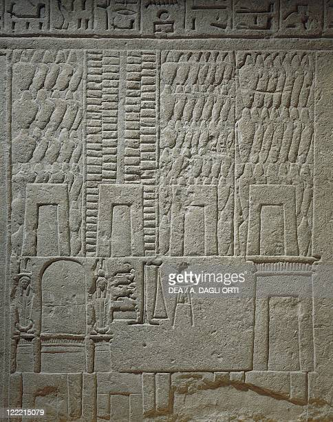 Egyptian civilization XVIII Dynasty reign of Pharaoh Akhenaton 15521306 bC Wall relief depicting a warehouse Detail of the scales for the weighing of...