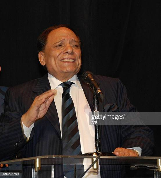 Egyptian comedian Adel Imam address the media after a special screening of the new film 'Hassan Morqos' at the Cairo Opera House on July 3 2008 The...