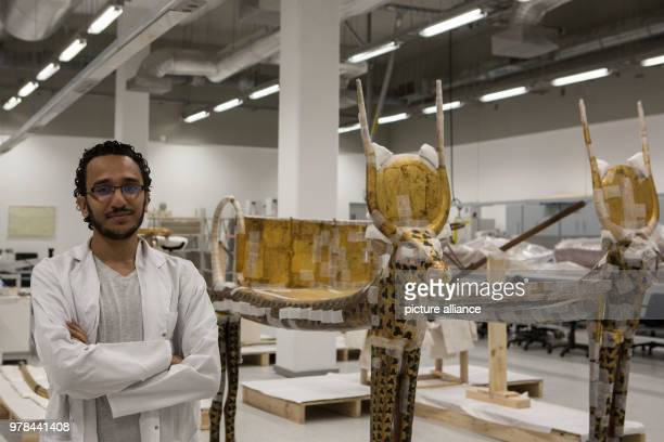 Egyptian conservator Mohamed Mostafa pictured inside a conservation laboratory at the Grand Egyptian Museum in Giza Egypt 26 April 2018 Photo Gehad...