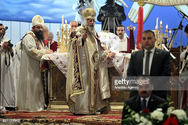 Egyptian Coptic Christian religious leader Pope Tawadros II leads a mass as part of celebrations of Jesus Christ's baptism and birth at St Mark's...