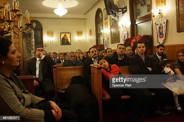 Egyptian Coptic Christians celebrate Christmas Nativity Liturgy the start of Christmas at the Coptic Orthodox Church of St George on January 6 2014...