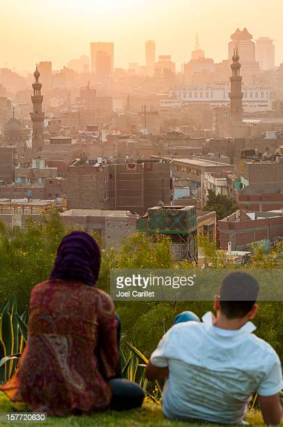 Egyptian couple at sunset in Cairo