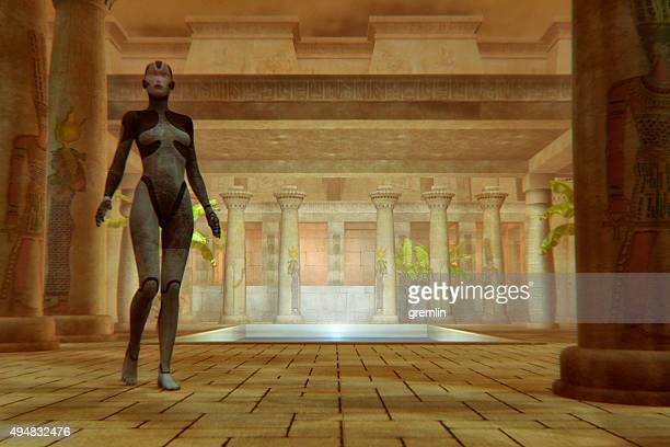 Egyptian cyborg goddess walking in ancient temple