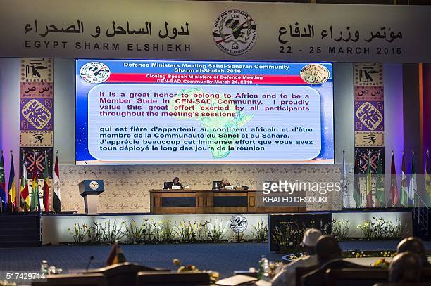 Egyptian Defence Minister Sedki Sobhi gives the closing speech next to Secretary General of the Community of SahelSaharan States Ibrahim Sani Abani...