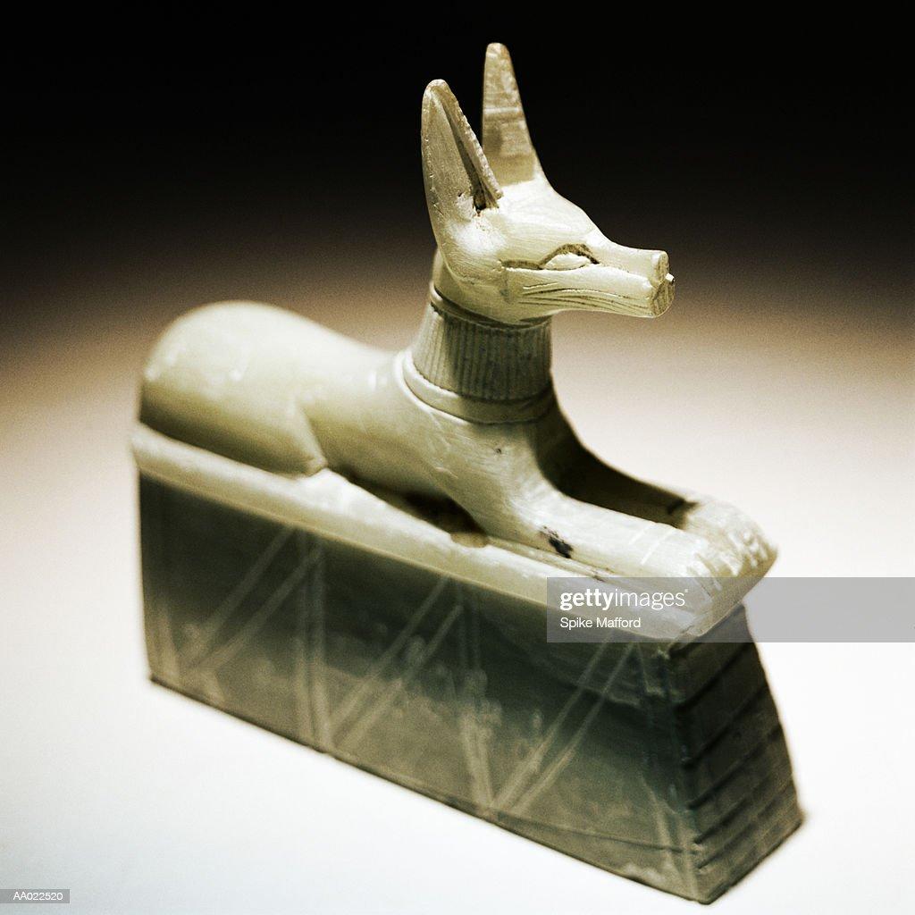 Egyptian Dog Carving : Stock Photo