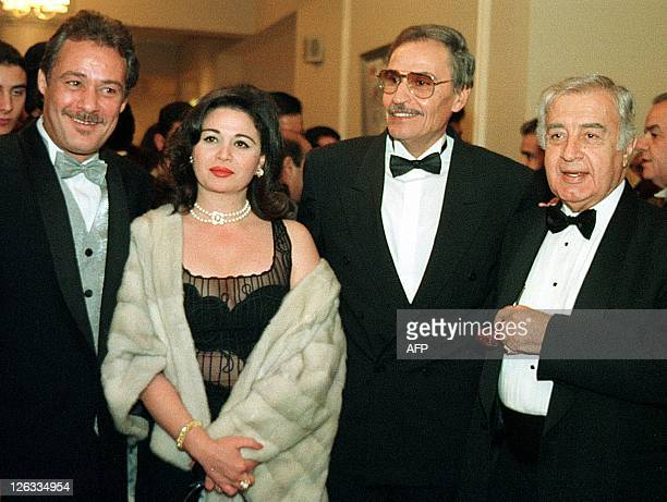 Egyptian film stars Faruq alFishawi Elham Shahine Ezzat alAlaili and Syrian megafilm producer Mustafa AlAqqad attend the awards ceremony at the 23rd...